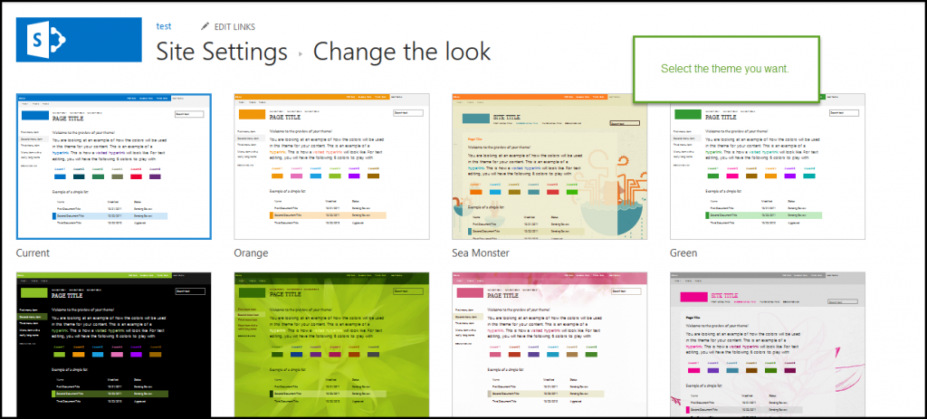Change the look of your site -screen 4